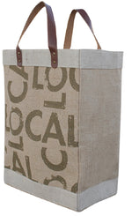LARGE COTTON JUTE TOTE BAG WITH LEATHER HANDLE (25 pcs/case )