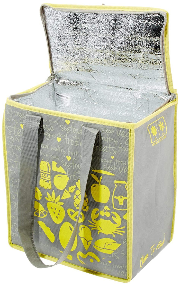 INSULATED REUSABLE GROCERY BAG YELLOW/GREY PRINT (40 pcs/case)