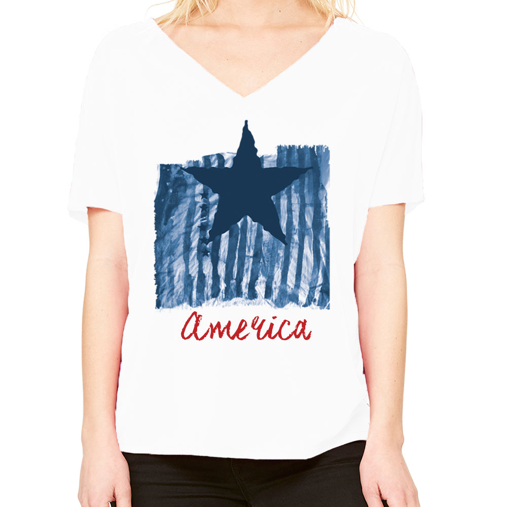 America Blends Blue Women's Slouchy V-Neck Tee