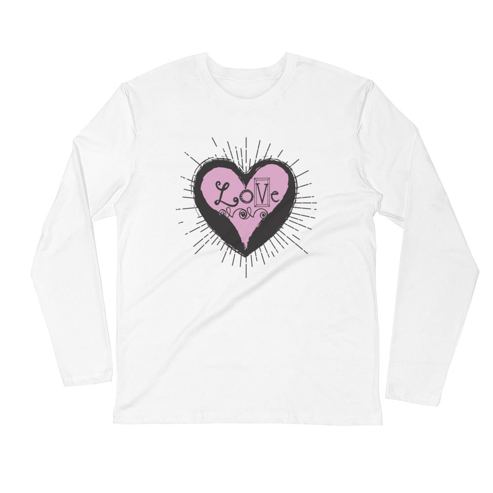 Heart Full of Love Long Sleeve Unisex Fitted Crew