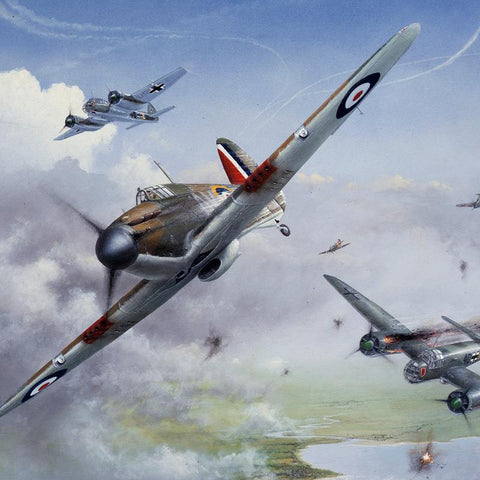 Image of Hawker Hurricane Battle of Britain Piece of Cake by Peter Randall Kent Signed limited edition military art print A20 Aviation Art close up