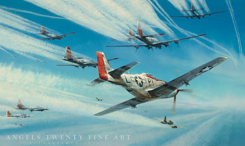 Image of P51 Mustang Robert Taylor Jet Hunters limited edition ww2 military aviation art print A20 aviation art full view