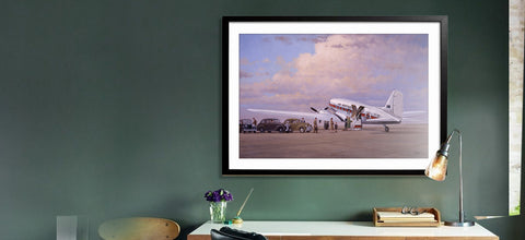 Image of Douglas DC3 Airplane Aviation Airliner Collectible Art Print Air Nostalgia by Geoff Lea Melbourne, Australia A20 Aviation Art Wide Desk Shot