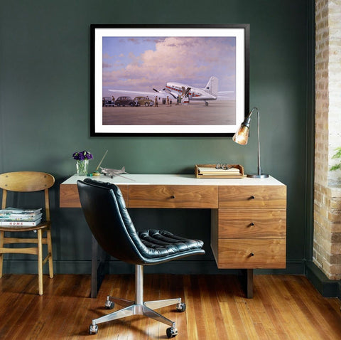 Image of Douglas DC3 Airplane Aviation Airliner Collectible Wall Art Print Air Nostalgia by Geoff Lea Melbourne, Australia A20 Aviation Art framed behind desk