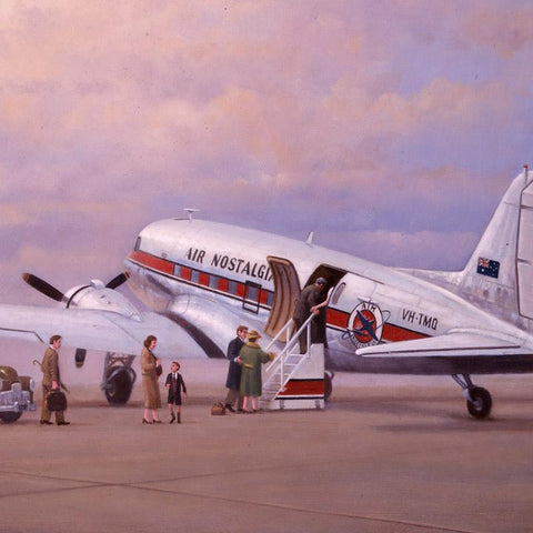 Image of Douglas DC3 Airplane Aviation Airliner Collectible Art Print Air Nostalgia by Geoff Lea Melbourne, Australia A20 Aviation Art Passengers Boarding