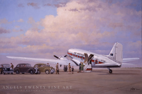 Image of Douglas DC3 Airplane Aviation Airliner Collectible Art Print Air Nostalgia by Geoff Lea Melbourne, Australia A20 Aviation Art Passengers Boarding Full