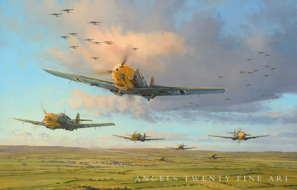 Robert Taylor Messerschmitt Bf109 Battle Of Britain WW2 Collectible Military Aviation Art Print Hardest Days A20 Aviation Art watermark