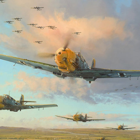 Image of Robert Taylor Messerschmitt Bf109 Battle Of Britain WW2 Collectible Military Aviation Art Print Hardest Days A20 Aviation Art close up