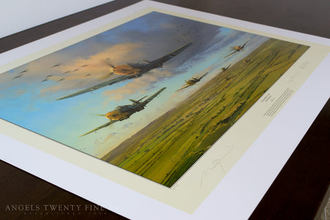 Image of Robert Taylor Messerschmitt Bf109 Battle Of Britain WW2 Collectible Military Aviation Art Print Hardest Days A20 Aviation Art full print