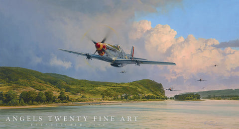 Image of Robert Taylor Air Superiority Signed Limited Edition Art Print P51 Mustang A20 Aviation Art full print wide shot