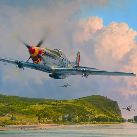 Image of Robert Taylor Air Superiority Signed Limited Edition Art Print P51 Mustang A20 Aviation Art full print closeup