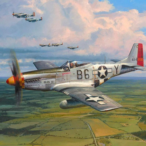 Image of Robert Taylor American Eagles Signed Limited Edition Art Print P51 Mustang A20 Aviation Art Closeup print