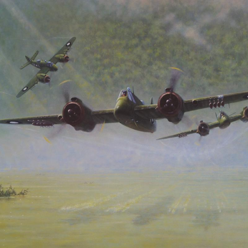 Bristol Beaufighter Green Ghosts by Geoff Lea WW2 RAAF Military Aviation Art Print A20 Aviation Art close up