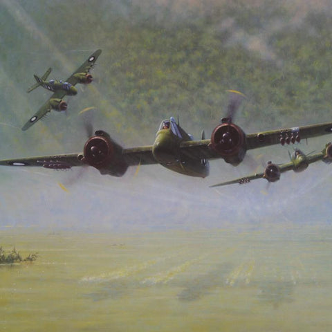 Image of Bristol Beaufighter Green Ghosts by Geoff Lea WW2 RAAF Military Aviation Art Print A20 Aviation Art close up