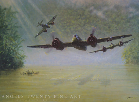 Image of Bristol Beaufighter Green Ghosts by Geoff Lea WW2 RAAF Military Aviation Art Print A20 Aviation Art Full view