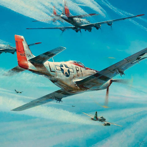Image of P51 Mustang Robert Taylor Jet Hunters limited edition ww2 military aviation art print A20 aviation art close up