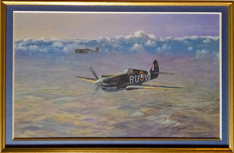 by Roy Cross WW2 Military Aviation Art Matted Print RAF Battle of Britain A20 Aviation Art close up