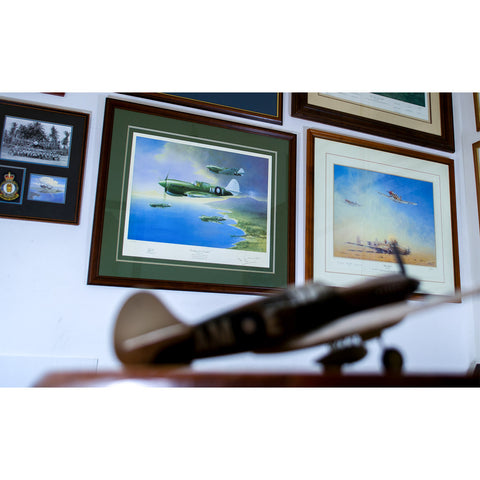 Image of RAAF P40 Kittyhawk Aviation Art Print Looking For Trouble Peter Randall Kent Sir John Gorton Framed on wall model p40 kittyhawk in foreground. A20 Aviation Art
