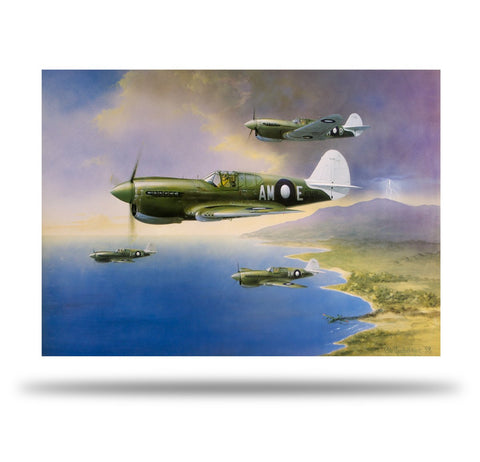 Image of RAAF P40 Kittyhawk Aviation Art Print Looking For Trouble Peter Randall Kent Sir John Gorton A20 Aviation Art close up