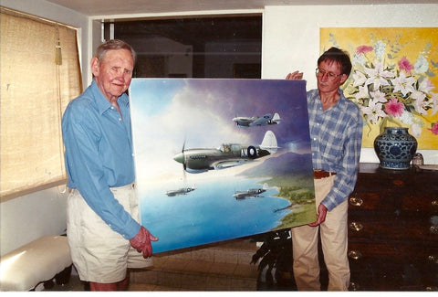 Image of RAAF P40 Kittyhawk Aviation Art Painting Looking For Trouble Peter Randall Kent Signed by Sir John Gorton with A20 Aviation Art Founder Peter Forbes