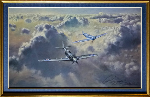 Image of Supermarine Spitfire by Roy Cross Military Aviation Art Print WW2 with RAF brooch A20 Aviation Art Close Up