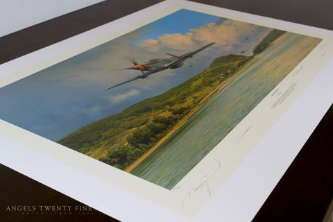 Image of Robert Taylor Air Superiority Signed Limited Edition Art Print P51 Mustang A20 Aviation Art full print side