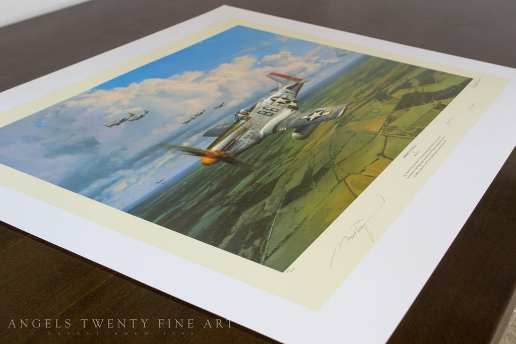 Robert Taylor American Eagles Signed Limited Edition Art Print P51 Mustang A20 Aviation Art side print view