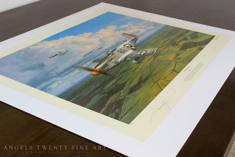 Image of Robert Taylor American Eagles Signed Limited Edition Art Print P51 Mustang A20 Aviation Art side print view