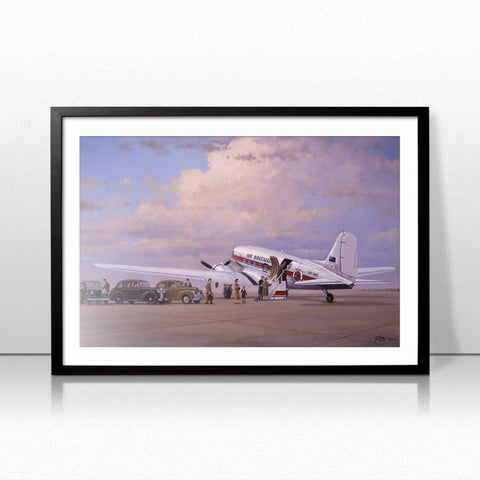 Image of Douglas DC3 Airplane Aviation Airliner Collectible Art Print Air Nostalgia by Geoff Lea Melbourne, Australia A20 Aviation Art Framed