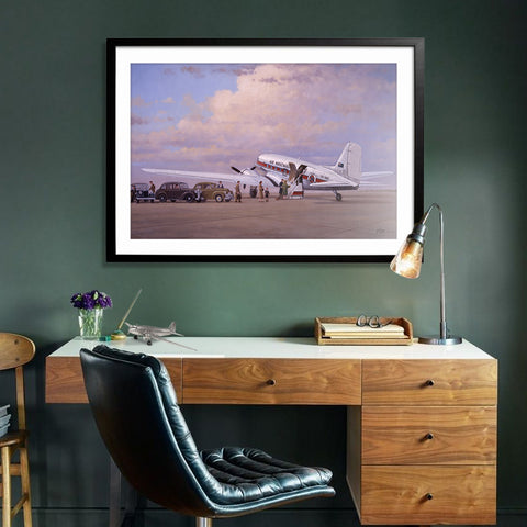 Image of Douglas DC3 Airplane Aviation Airliner Collectible Art Print Air Nostalgia by Geoff Lea Melbourne, Australia A20 Aviation Art Office Desk