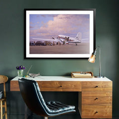 Douglas DC3 Airplane Aviation Airliner Collectible Art Print Air Nostalgia by Geoff Lea Melbourne, Australia A20 Aviation Art Office Desk