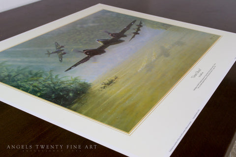Image of Bristol Beaufighter Green Ghosts by Geoff Lea WW2 RAAF Military Aviation Art Print A20 Aviation Art Print view