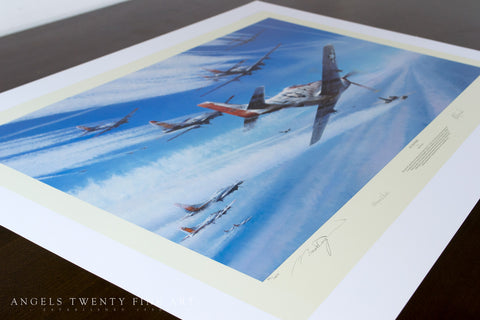 Image of P51 Mustang Robert Taylor Jet Hunters limited edition ww2 military aviation art print A20 aviation art print view side