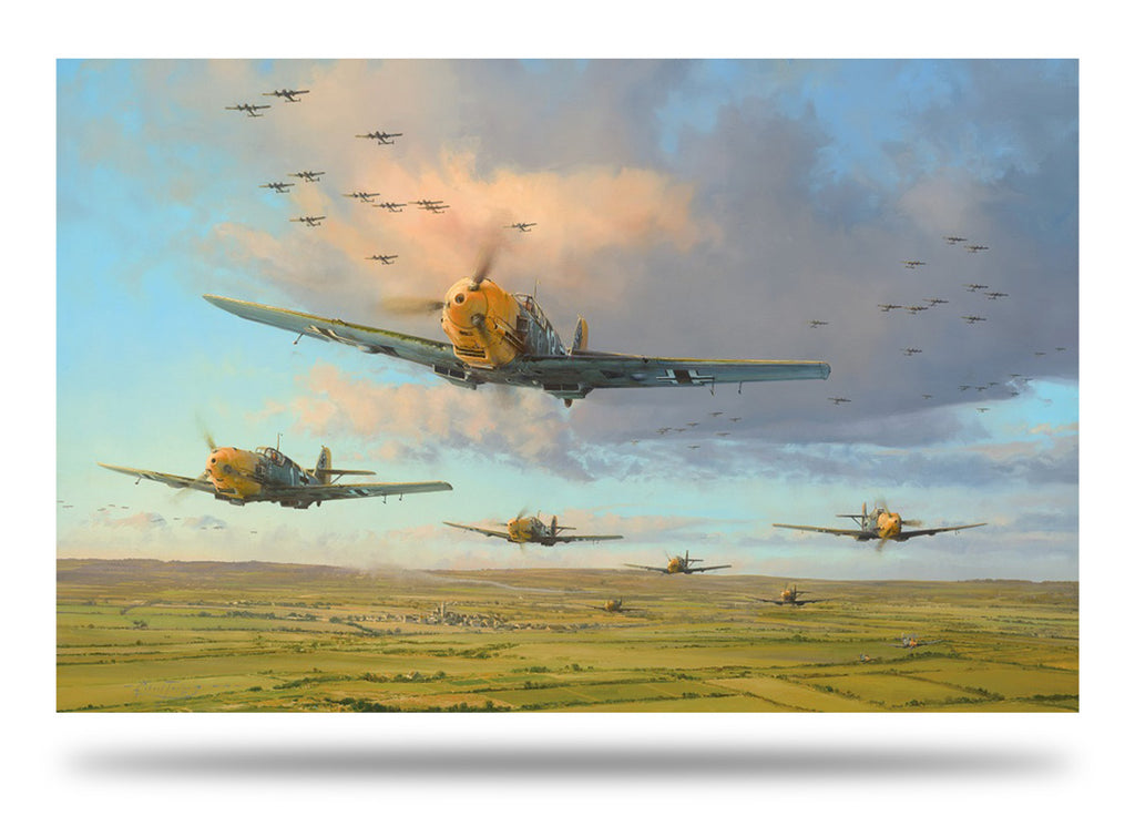 Robert Taylor Messerschmitt Bf109 Battle Of Britain WW2 Collectible Military Aviation Art Print Hardest Days A20 Aviation Art