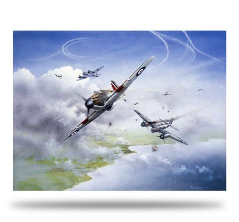 Image of Hawker Hurricane Battle of Britain Piece of Cake by Peter Randall Kent Signed limited edition military art print A20 Aviation Art