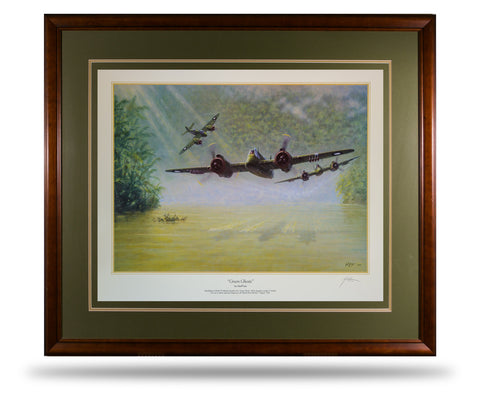 Image of Bristol Beaufighter Green Ghosts by Geoff Lea WW2 RAAF Military Aviation Art Print A20 Aviation Art
