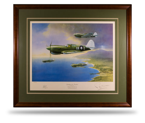 Image of RAAF P40 Kittyhawk Aviation Art Print Looking For Trouble Peter Randall Kent Sir John Gorton A20 Aviation Art