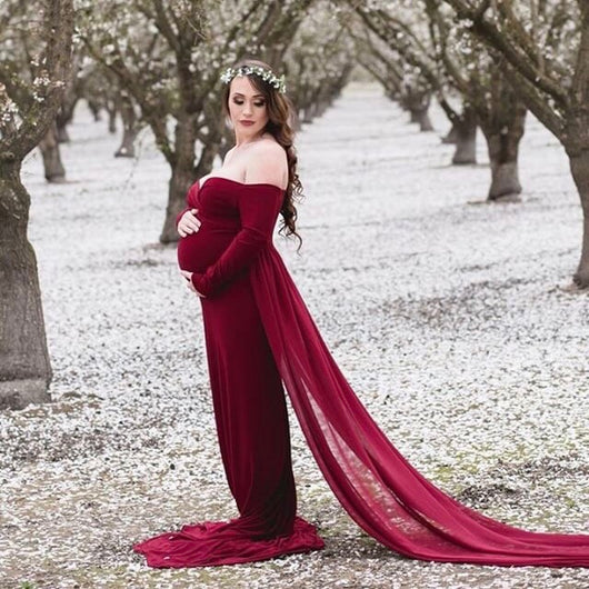 30e195a8bbf Dramatic tossing train with fitted Maternity Gown – ANYUTA COUTURE