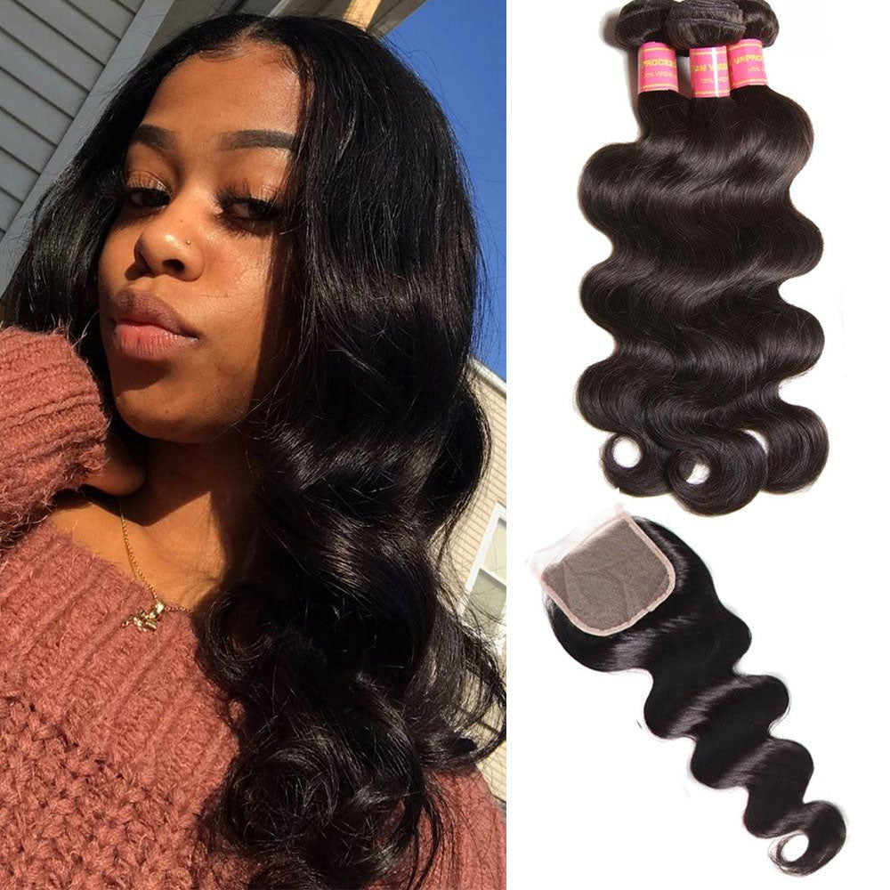 YIROO 7A Brazilian Body Wave Hair Bundles 4 Bunldes with 1 Lace Free Part Closure ,100% Unprocessed Virgin Human Hair