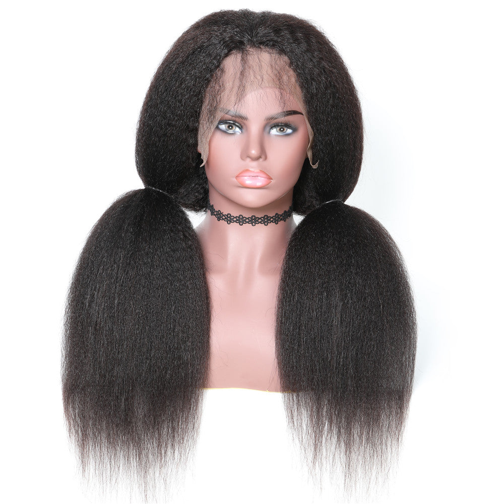 360 Lace Wig Kinky Straight 150% & 180% Density Black Color, 100% Virgin Human Hair Wig 360 Lace 10-24 Inch