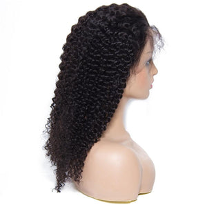 Yiroo Jerry Curly 150% Density Lace Front Wig 100% Human Hair Natural Color 10-24inch,