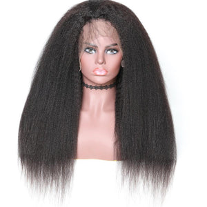 360 Lace Wig Kinky Straight 150% & 180% Density Black Color, 100% Virgin Human Hair Wig 360 Lace Frontal Wig 10-24 Inch