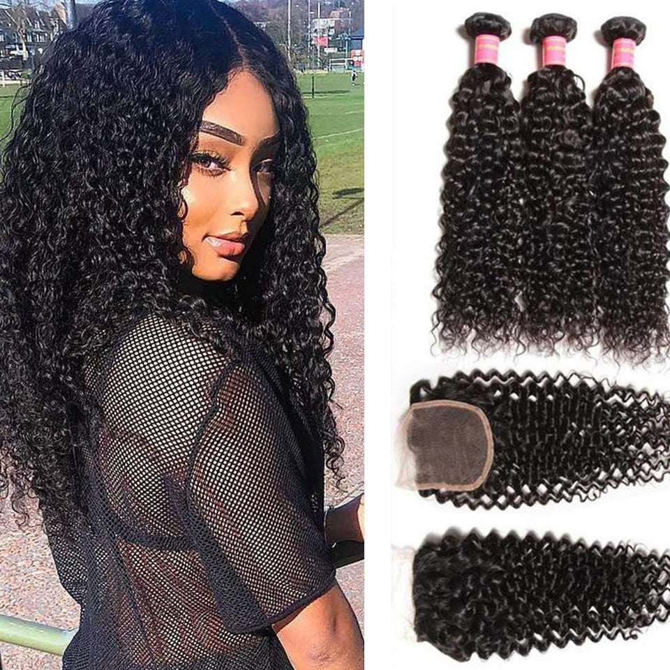 YIROO 7A Brazilian Virgin Hair Curly Weave Human Hair Extensions 3 BundleS With 1pc Lace Closure Deals