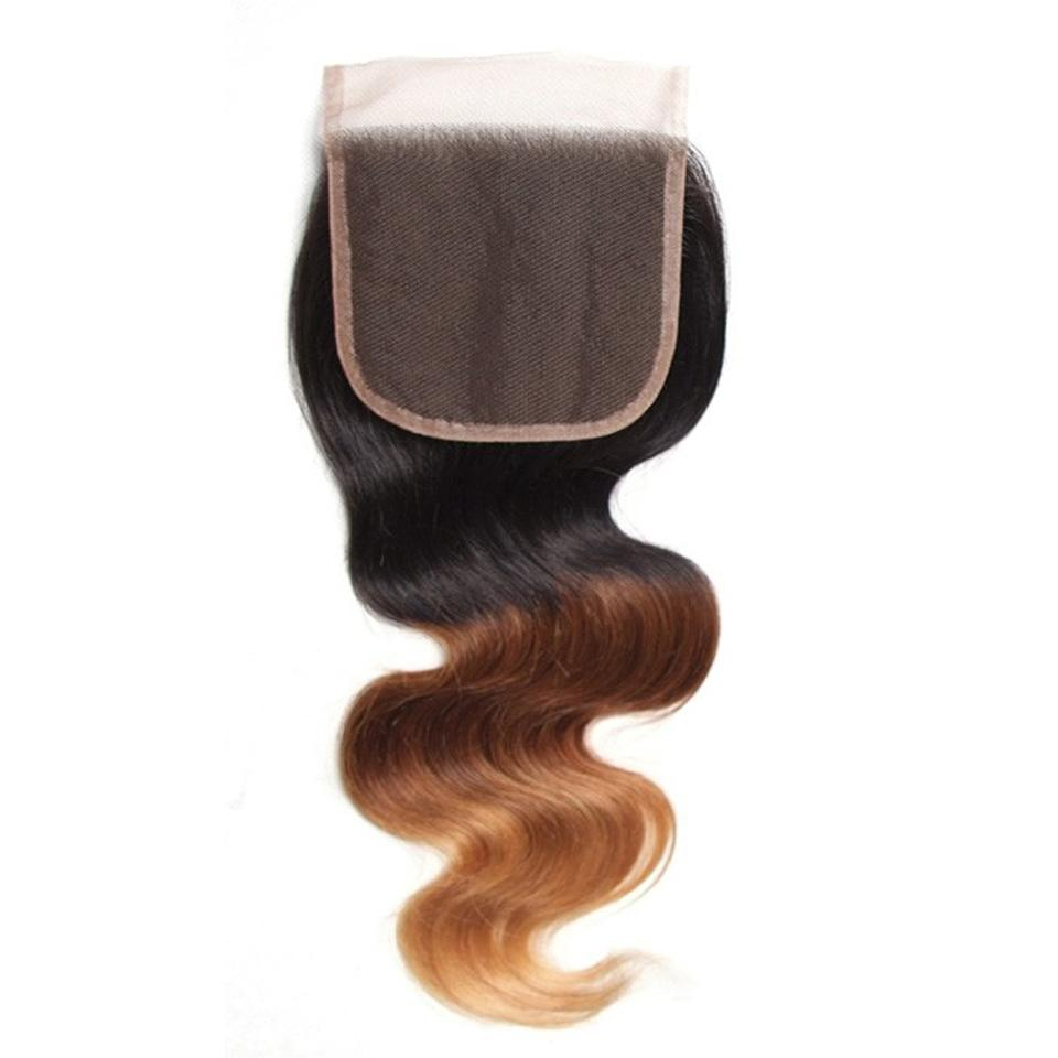 Ombre T1B/4/27 Human Hair Lace Closure 4*4 Body Wave Closure-Yiroo Hair