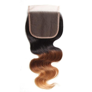 Ombre Color T1B/4/27 Human Hair Lace Closure 4*4 Virgin Hair Body Wave Closure-Yiroo Hair