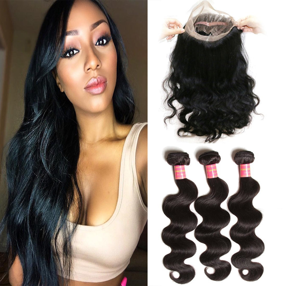 YIROO 7a Grade 3 Bundles Virgin Brazilian Body Wave Human Hair Bundles With 360 Lace Frontal Closure