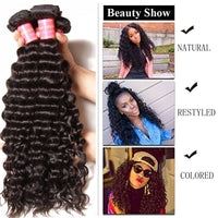 "YIROO Peruvian Deep Wave Bundles with Closure 7a Virgin Hair Weave 3 Bundles with Closure Free Part 4""x4"" Can Be Colored"