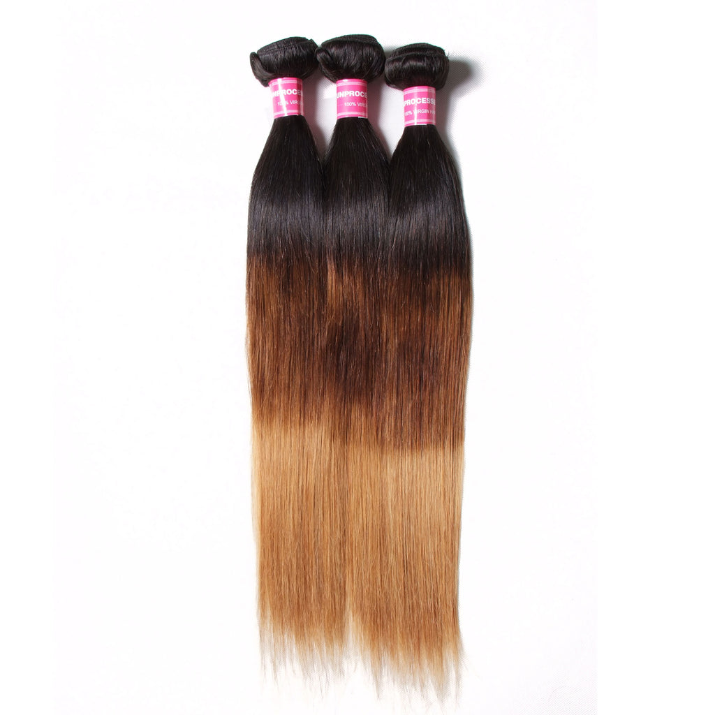YIROO Peruvian Ombre Straight Human Hair Weave 3 Bundle Deals Good Quality