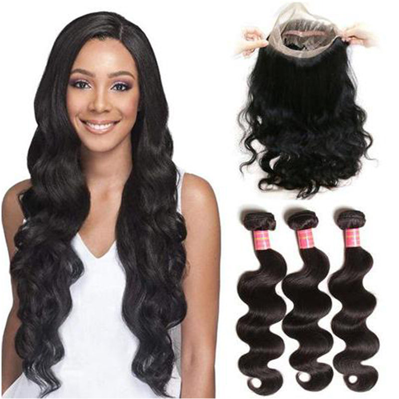 YIROO 7A Virgin Brazilian Hair Body Wave Human Hair Bundles With 360 Lace Frontal Closure Unprocessed Human Hair 3 Bundles
