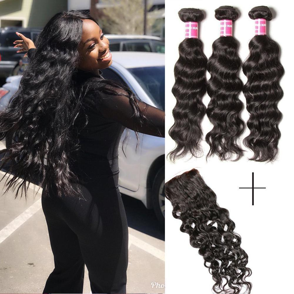 YIROO Malaysian Natural Wave 3 Bundles with 1pc 4x4 Lace Closure Free Part,100% Human Virgin Hair
